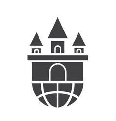 Flat black castle icon vector
