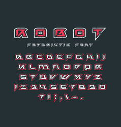 Futuristic font with contour and rust texture vector