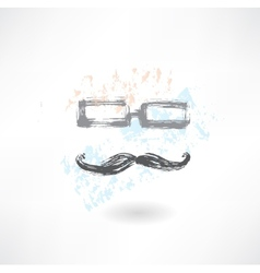 glasses and mustache grunge icon vector image