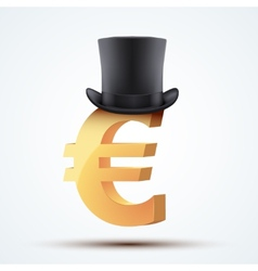 Symbol of the european euro in cylinder hat vector