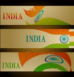 Set of indian flag headers vector