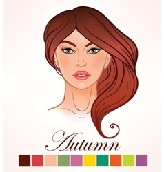 Seasonal skin color types for women autumn vector