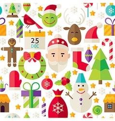Merry christmas flat design white seamless pattern vector