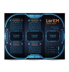 Tri-fold brochure template Futuristic HUD vector image