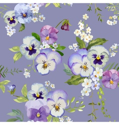Pansy flowers background - seamless floral pattern vector