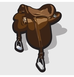 Brown leather horse saddle equipment of the rider vector