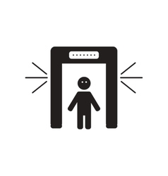 Flat icon in black and white style people scanner vector