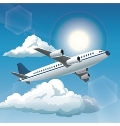 Aircraft sunny blue sky clouds vector