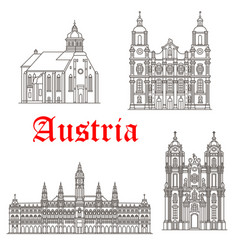 Austrian architecture buildings icons vector