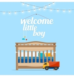 Baby boy room with bed and words vector