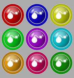 Bomb icon sign symbol on nine round colourful vector