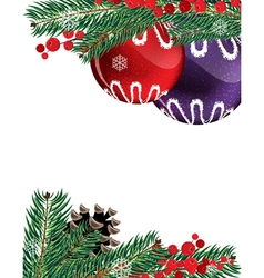 Christmas baubles with pine cone vector