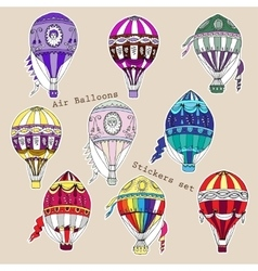 Colored air balloons stickers set vector