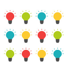 colorful lightbulbs isolated set creative team vector image vector image