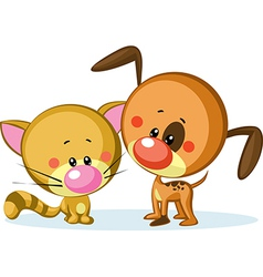 cute dog and cat isolated on white background vector image vector image