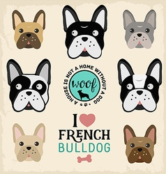 Cute french bulldog set vector