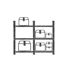 Drawing warehouse storage boxes pictogram vector