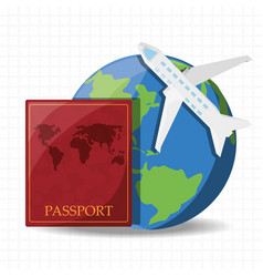 earth planet with airplane and passport vector image vector image