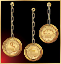 Golden coin linked with chain on black background vector