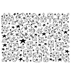 Hand drawn of christmas candle lights background vector