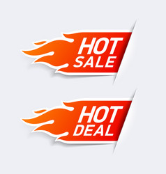 Hot Sale and Hot Deal labels vector image