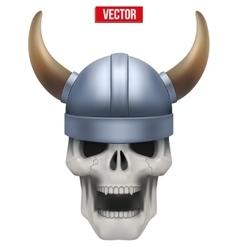 Human skull with viking helmet vector image vector image