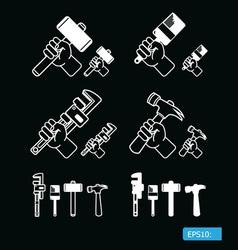 icon hand labor black vector image