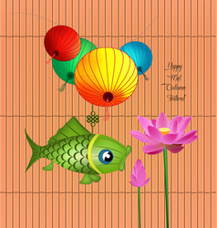 Mid autumn lantern festival background with carp vector