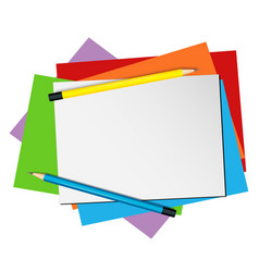 paper template with pencils and color papers vector image vector image