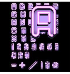 pink neon alphabet vector image vector image