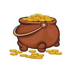 Pot with gold coins vector