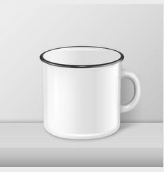 realistic enamel metal white mug closeup vector image vector image