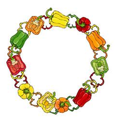 Red orange yellow green bell peper wreath half vector