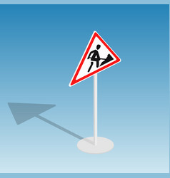 road sign roadworks isometric vector image