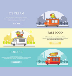 set of street food truck horizontal banners vector image vector image