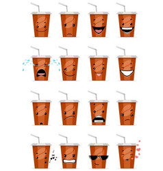 sixteen glasses emojis vector image