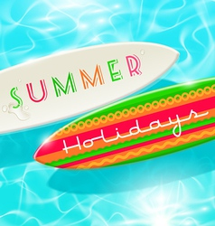 Surfboards on a blue shining tropical water vector image vector image