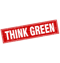 Think green red square grunge stamp on white vector