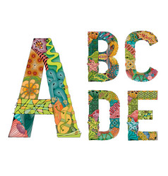 Unusual colorfull alphabet doodle style letters on vector