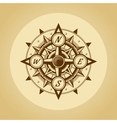 Wind rose in old retro style vector image