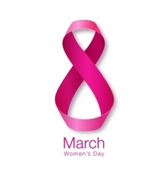 Womens Day Realistic Ribbon March 8 card vector image