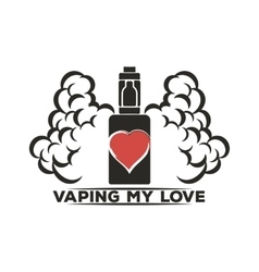 Emblem of an electronic cigarette with steam and vector