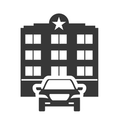 Car hotel building silhouette design vector