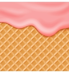 Flowing pink glaze on wafer background vector
