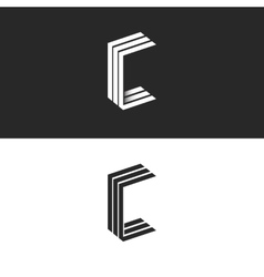 Idea 3d logo c letter isometric monogram group vector