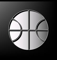 Basketball ball sign   gray 3d vector