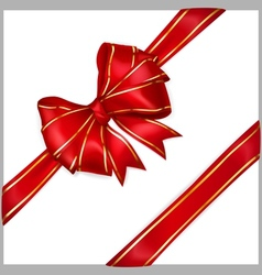 Red bow with diagonally ribbons with golden strips vector image