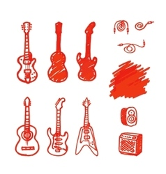 Set of guitars made marker vector