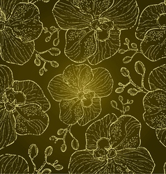Seamless floral orchid vector