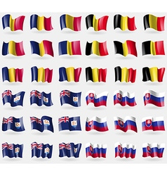 Chad belgium anguilla slovakia set of 36 flags of vector
